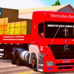 Skins Mercedes Benz Axor Vermelho na Carreta 2 Eixos Carregado de Caixas e Frutas