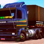 Skins Scania 113 Frontal Com Faixas Personalizadas Reggae na Carreta Bitrem Graneleiro