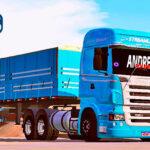 Skins Scania R Azul Bem Clarinho Na Graneleira Tampa Alta e Lona Pela Metade