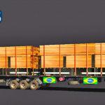 Skins Reboque Rodotrem Preto Com Bandeiras do Brasil e Carga de Madeiras