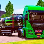 Skins Man TGX Verde Com Logo Personalizado na Carreta Tanque Monster