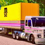 Skins Scania 113 Cinza No Rodotrem Carregado de Container Granel Com Faixas Roxas