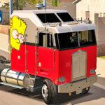 Skins KENWORTH K100 Pintura Vermelha e Cinza Com Adesivo Top Bart Simpson
