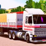 Skins Scania 113 Frontal Branca No Rodotrem Tampa Alta Com Faixas Originais Vermelhas