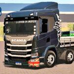 Skins Scania P320 Preta Griffin Com Carroceria Branca e Faixas Preta 'MAIS QUALIFICADO'