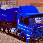 Skins Scania 113 Frontal Azul Conjunto Na Caçamba Com Faixas Original