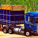 Skins Scania R Azul Streamline Com Faixas Na Carreta Granel Tampa Alta