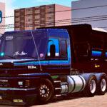 Skins Scania 113 Preta Conjunto Na Caçamba Com Faixas em Azul