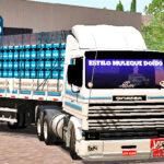Skins Scania 113 Frontal Branca Com Fixas Em Azul Na Carretinha 2 Eixos Com carga de Agua Mineral