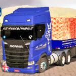 Skins Scania S Azul na Carreta Bitrem Carregado de Cebolas