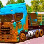 Skins Scania S Bluefun Edition Toda Suja de lama na Caçamba