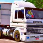 Skins Scania 113 Frontal Conjunto Branco Faixas em Cinza No Bitrem Randon Tampa Alta