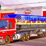 Skins Scania 113 Vermelha Faixas em Cinza No Rodotrem Preto Carregado de Madeiras