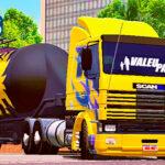 Skins Scania 113 Frontal Amarela Grafitada Na Carreta Silo Transportes de Cimento