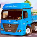 Skins Mercedes Benz Atego Azul Verdureiro Com Rodas Cromadas