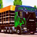 Skins Scania S 8x2 Edição Heróis da Estrada Preta e verde no Rodotrem Madeireiro