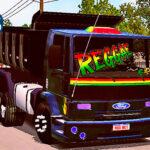Skins Ford cargo Preto Com detalhes Reggae Caçamba Com Rodas Pretas