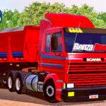 Skins Scania 113 Frontal Conjunto Vermelho Na Carreta Caçamba Com Faixas Azul