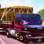 Skins Scania 113 Preta Com Faixas Rosa Na Carreta 2 EIXOS Carregado de Laranja