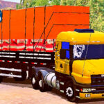 Skins Scania G124 Amarela Com Logo Griffin Na Carreta 2 Eixos Carregada de Carvão