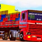 Skins Scania 113 Frontal Vermelha Na Carreta 2 Eixos Verdureira