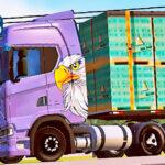 Skins Scania S Pintura Roxa Com Pintura Aguia Na carreta Carregada de Caixas de Cerâmicas