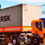 Skins Iveco Tector Laranja na Carreta Granel Com Container (SKIN DO VOLVO VM)