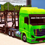 Skins Mercedes Benz Actros Verde Clarinho Na Carreta Cegonha