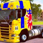 Skins Scania S Amarela Com Logo Griffin Na Carreta Prancha Azul