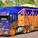 Skins Iveco HI-WAY Azul escuro Sujo no Rodotrem Canavieiro
