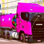 Skins Scania S Conjunto Qualificado No Tanque Rosa