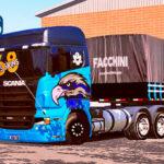 Skins Scania R 2 Cores em Azul e Preta Com Adesivo Águia No Bitrem