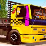 Skins Ford Cargo Amarelo Com Faixas Racing e Carroceria preta Top