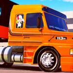 Skins Scania 113 Laranja Faixa Cinza e Preta Mais Qualificado na Carretinha 2 Eixos Carregado de Cerveja